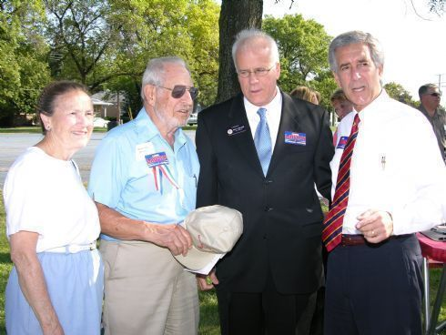 Helen and Retired State Senator Bob Mitchler spend some time with State Senators John Milner and Chris Lauzen just before Chris announces his candidacy for the 14th Congressional District.