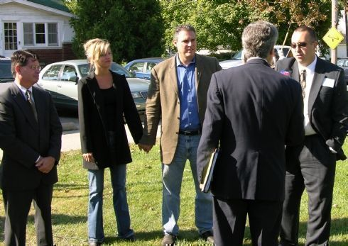 Chris greets some of his supporters from Kendall County as they arrive for the campaign Kickoff:  John Wyeth, Lisa and Keith Wheeler, and Kendall County State`s Attorney Eric Weis.